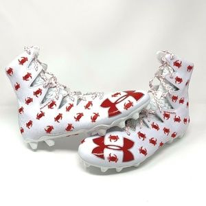 Under Armour Lacrosse White Red Crab Cleats - New